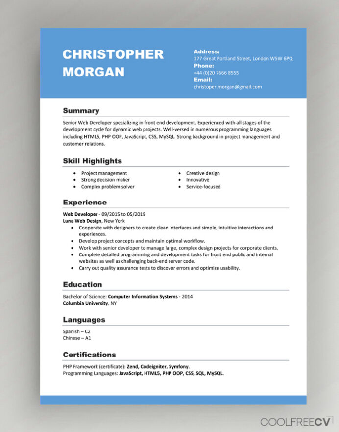 cv resume templates examples word format and template new cna visualcv builder brooklyn Resume Resume Format And Examples