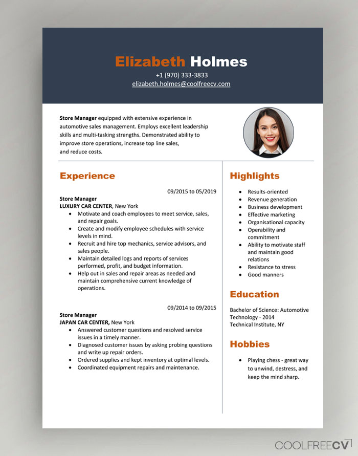 cv resume templates examples word template modern with photo01 one employer sample direct Resume Canadian Resume Template Download