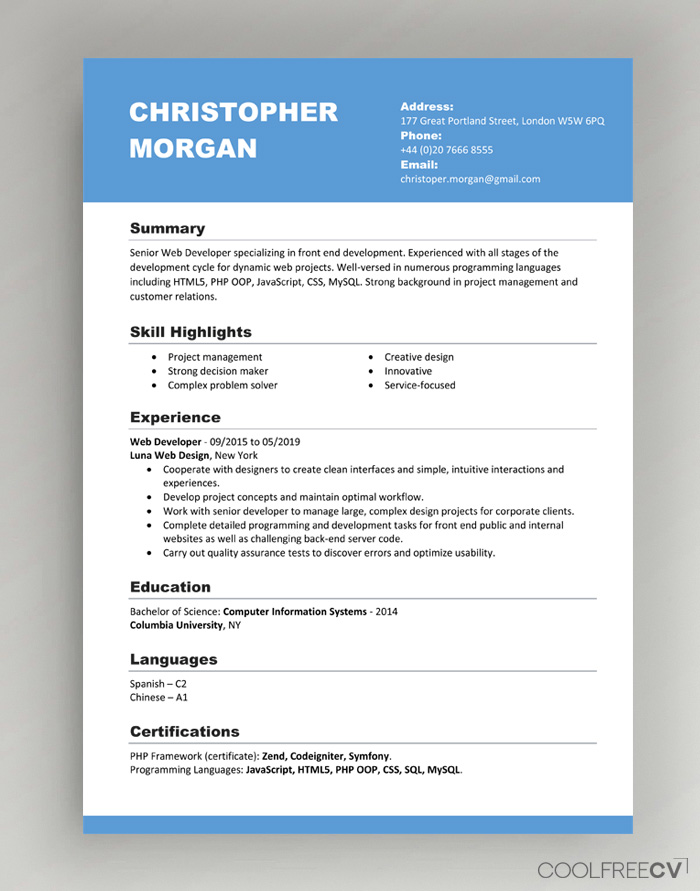 cv resume templates examples word template one employer sample ats compliant meaning best Resume Canadian Resume Template Download