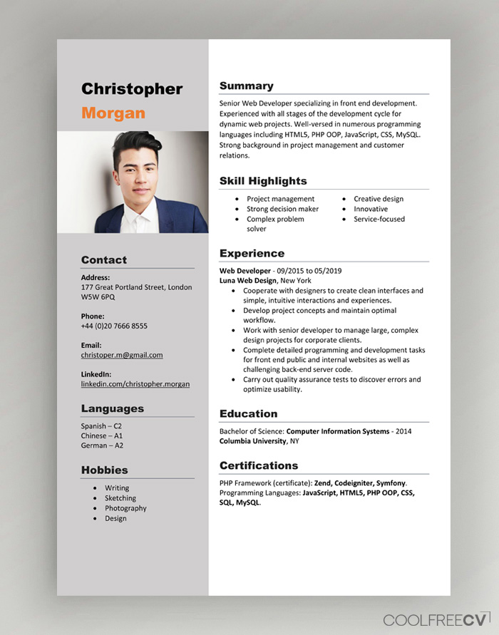 cv resume templates examples word template with photo one employer sample best free Resume Canadian Resume Template Download