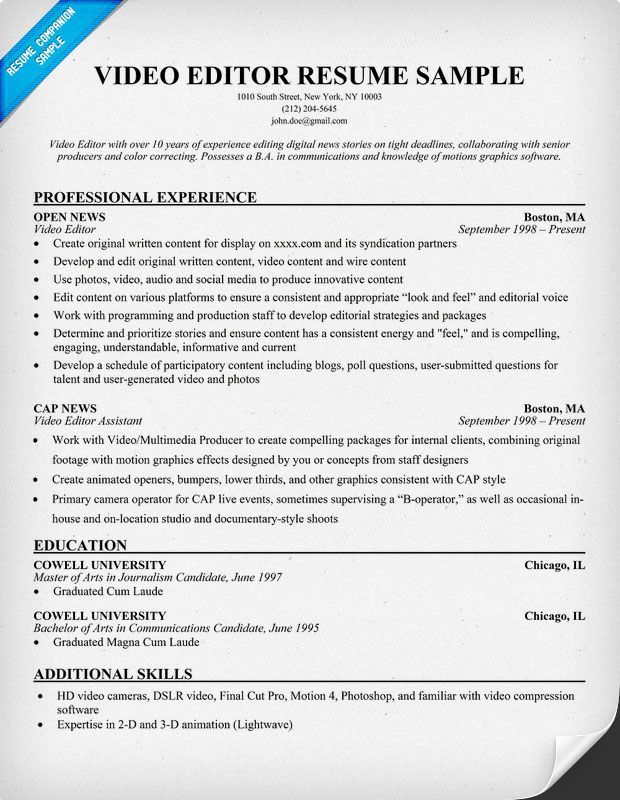 cv template editor resume examples good star hotel houseman electrician skills art Resume Resume Template Video Editor