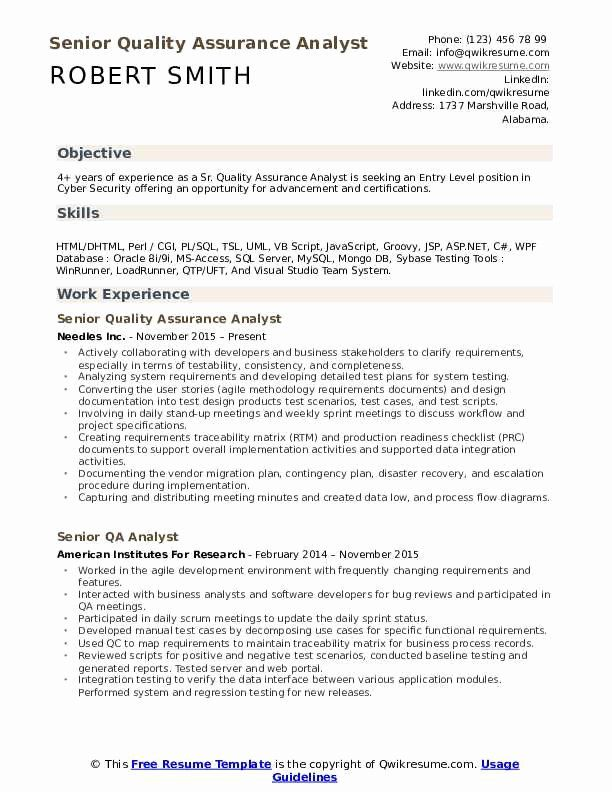 cyber security entry level resume unique senior quality assurance analyst samples job Resume Entry Level Cyber Security Resume