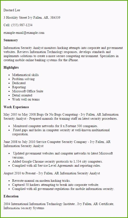cyber security resume example free templates entry level best analyst sample with pics Resume Entry Level Cyber Security Resume