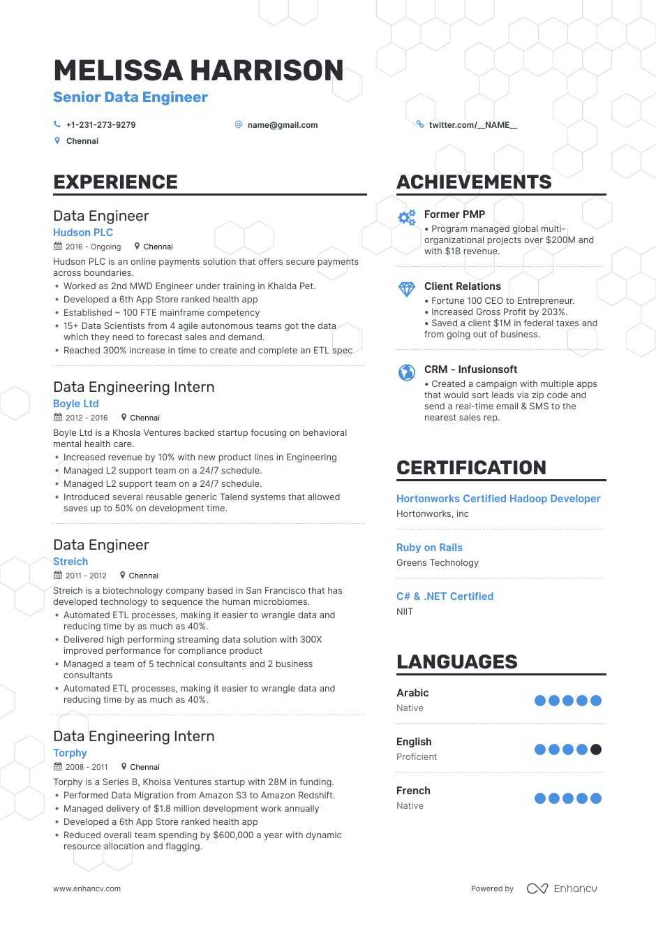 data engineer resume examples do and don ts for enhancv of without experience business Resume Resume Of Data Engineer