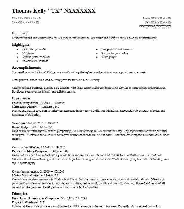 delivery driver resume food billing and coding high school student summary template Resume Food Delivery Driver Resume