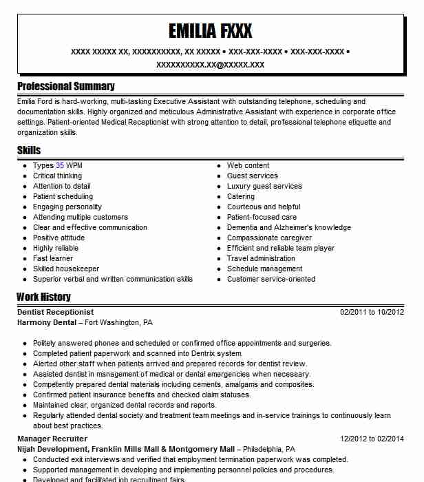 dentist receptionist resume example resumes livecareer dental tips for filling out best Resume Dental Receptionist Resume