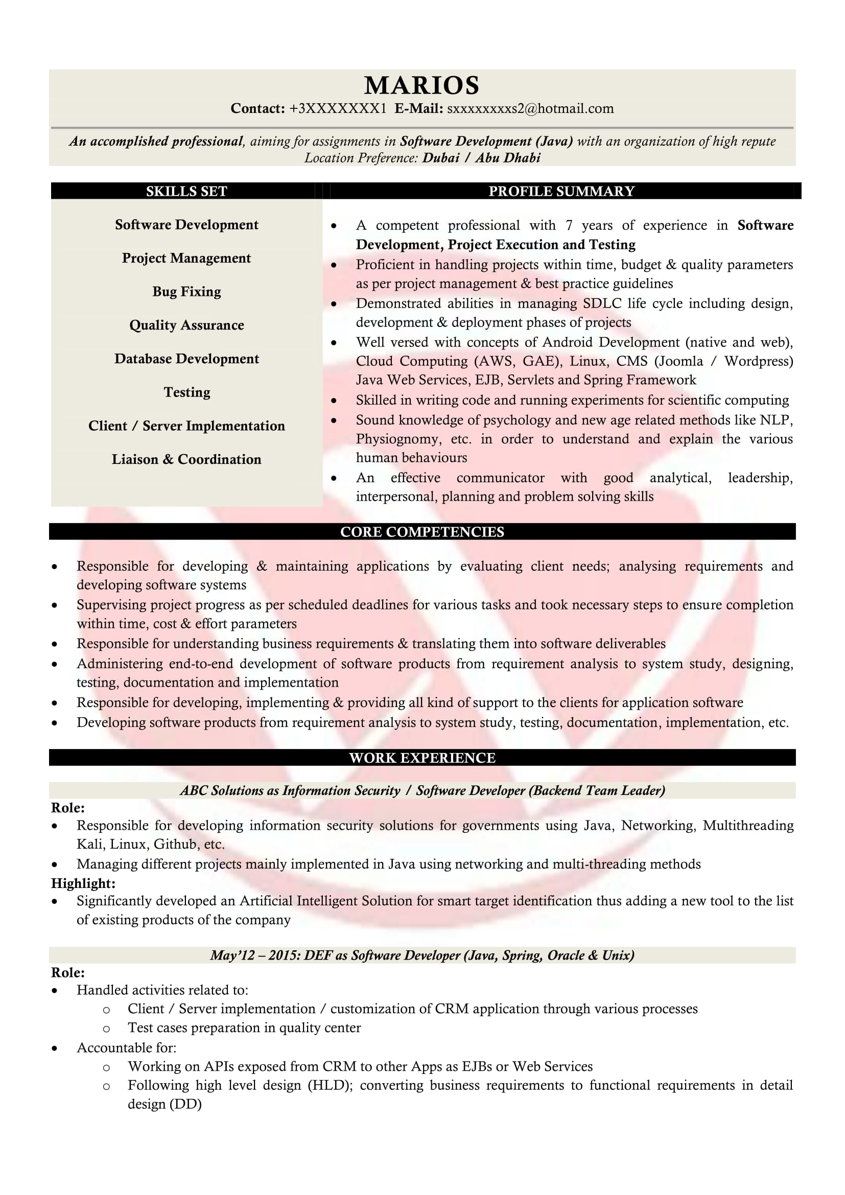 developer sample resumes resume format templates projects for mft associate bbm freshers Resume Java Projects For Resume