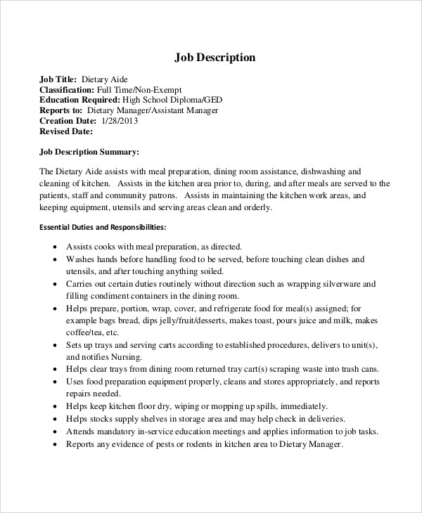 dietary aide description for printable and downloadable cust job resume full time Resume Dietary Aide Job Description For Resume