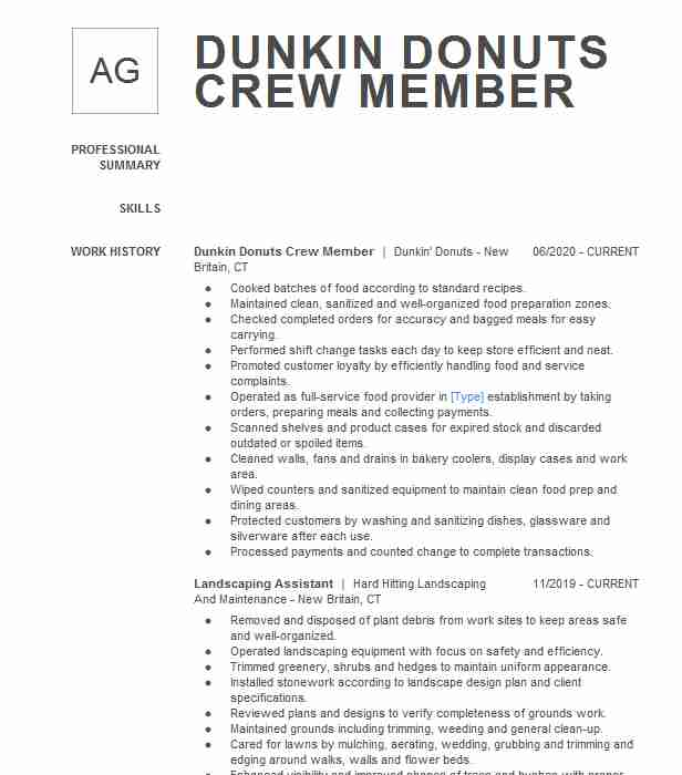 dunkin donuts crew member resume example new career objective summary for aux now cancel Resume Dunkin Donuts Crew Member Resume
