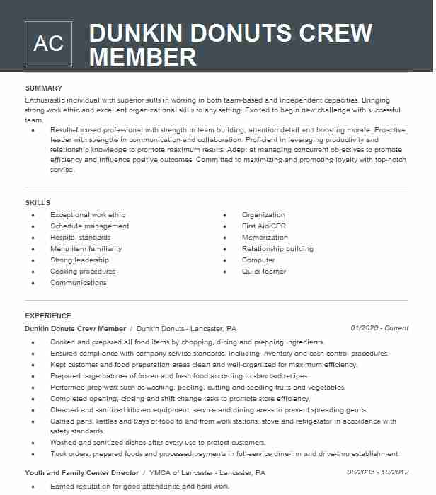 dunkin donuts crew member resume example ponte vedra beach hloom cosmetology student Resume Dunkin Donuts Crew Member Resume