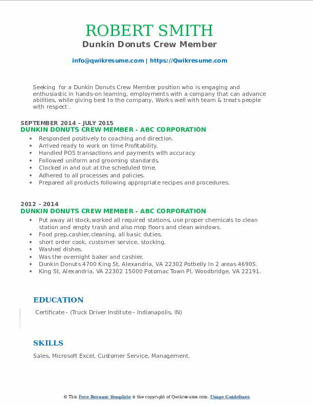 dunkin donuts crew member resume samples qwikresume pdf examples for physical therapist Resume Dunkin Donuts Crew Member Resume