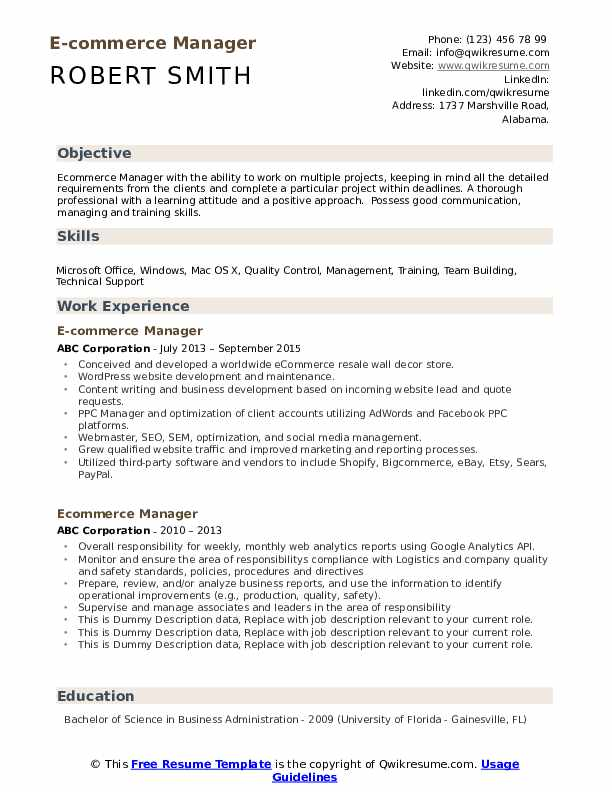 ecommerce manager resume samples qwikresume commerce specialist pdf janitor examples fake Resume E Commerce Specialist Resume