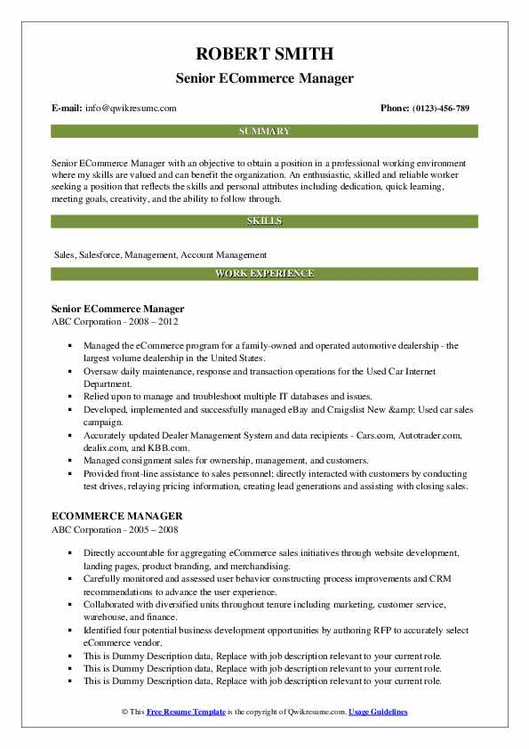 ecommerce manager resume samples qwikresume description for pdf construction Resume Ecommerce Description For Resume
