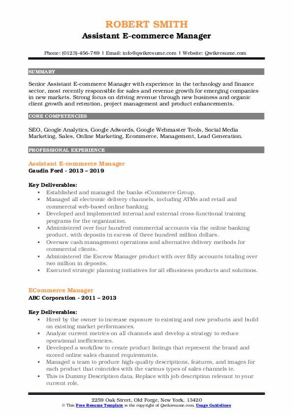 ecommerce manager resume samples qwikresume description for pdf nyu mccombs template Resume Ecommerce Description For Resume