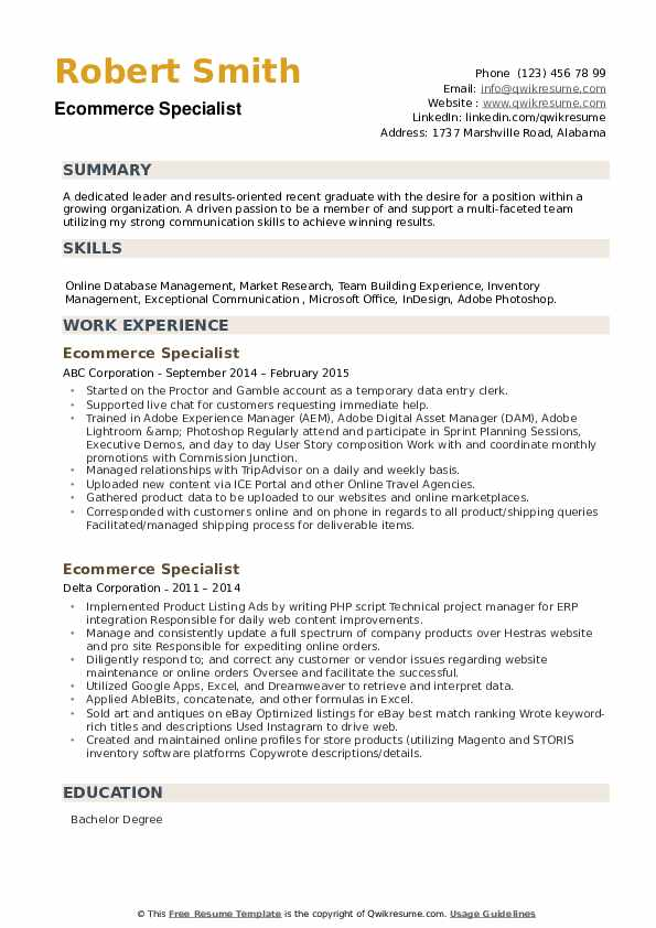 ecommerce specialist resume samples qwikresume commerce pdf making for the first time Resume E Commerce Specialist Resume