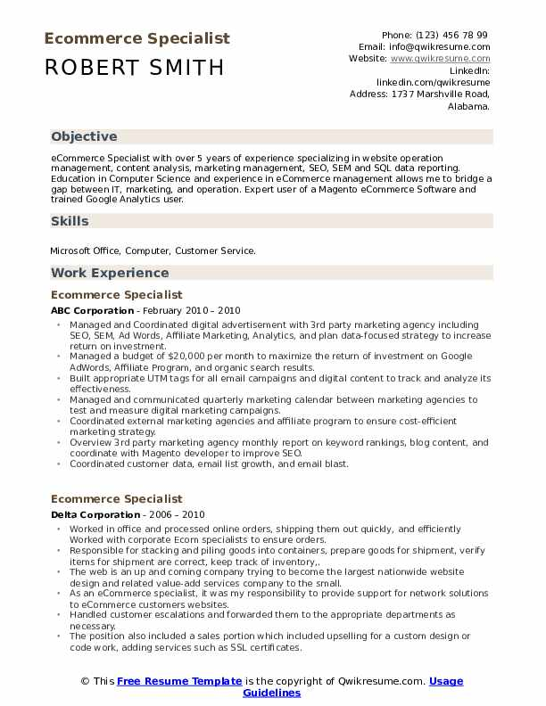 ecommerce specialist resume samples qwikresume commerce pdf simple for freshers cyber Resume E Commerce Specialist Resume