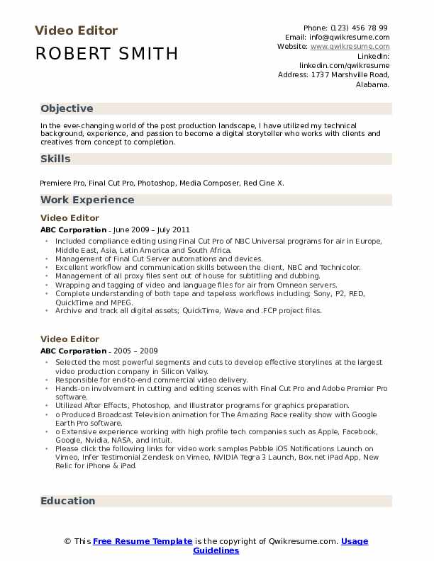 editor resume samples qwikresume template pdf doctor example collection representative Resume Resume Template Video Editor