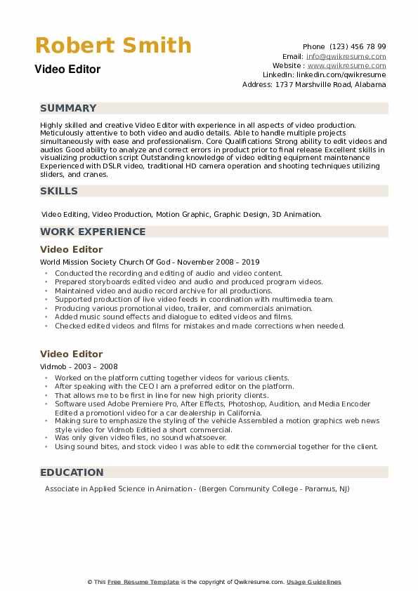 editor resume samples qwikresume template pdf skills for engineers hotel houseman mba Resume Resume Template Video Editor