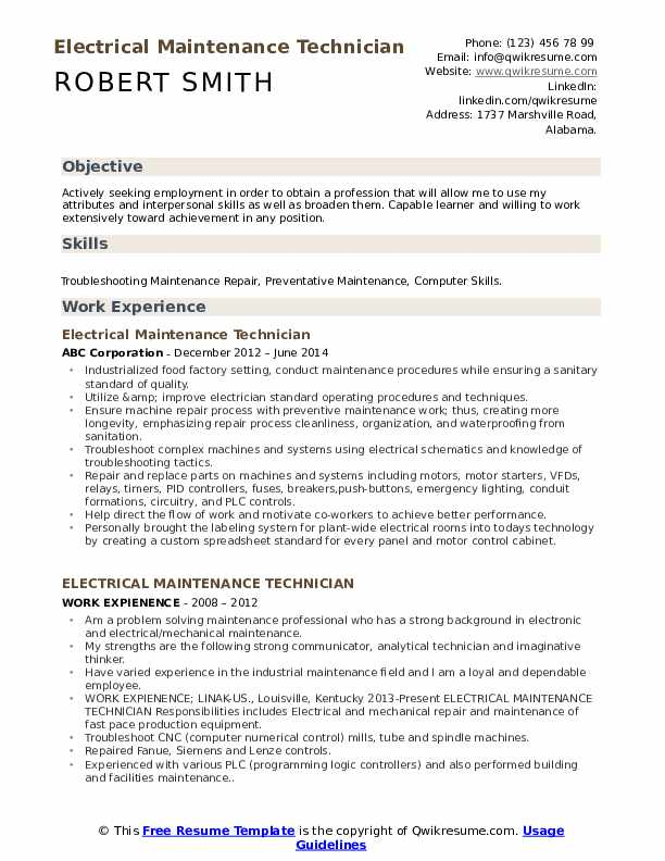 electrical maintenance technician resume samples qwikresume oil and gas pdf importance of Resume Oil And Gas Electrical Technician Resume