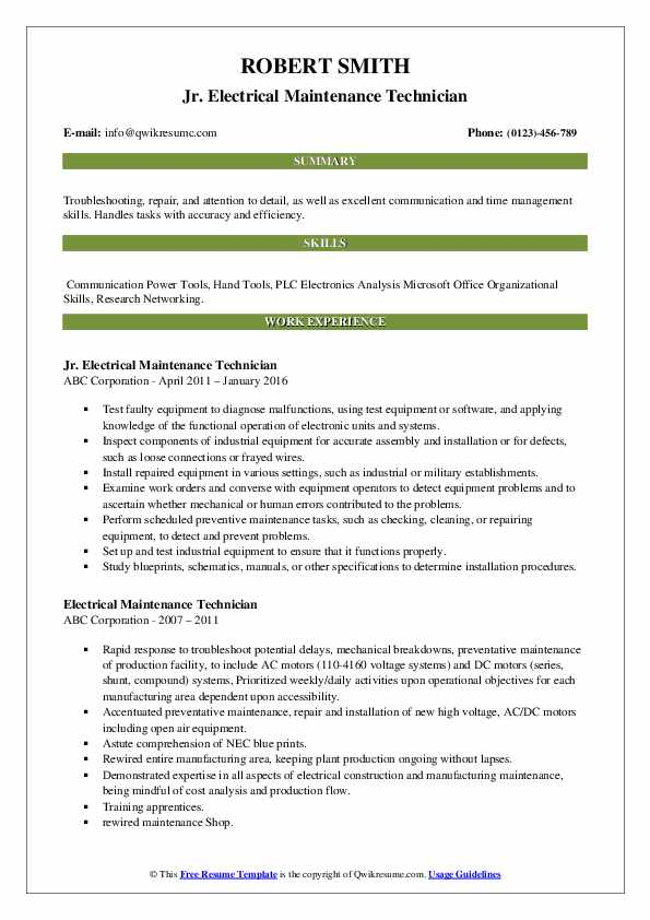 electrical maintenance technician resume samples qwikresume oil and gas pdf skill Resume Oil And Gas Electrical Technician Resume