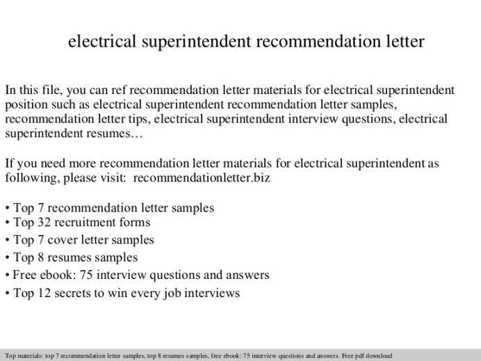 electrical superintendent recommendation letter resume Resume Electrical Superintendent Resume