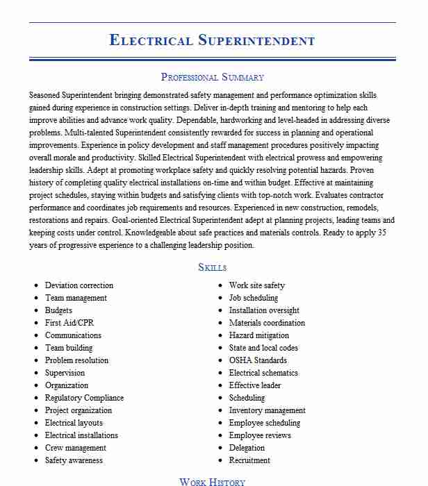 electrical superintendent resume example electric summerville south carolina staffing Resume Electrical Superintendent Resume