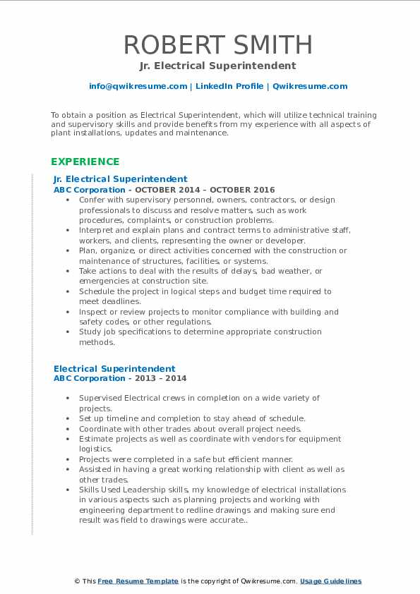 electrical superintendent resume samples qwikresume pdf example of movers call center Resume Electrical Superintendent Resume