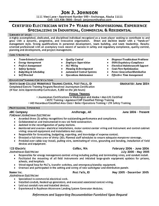 electrician resume example foreman supervisor free templates sample federal template for Resume Free Electrician Resume Templates