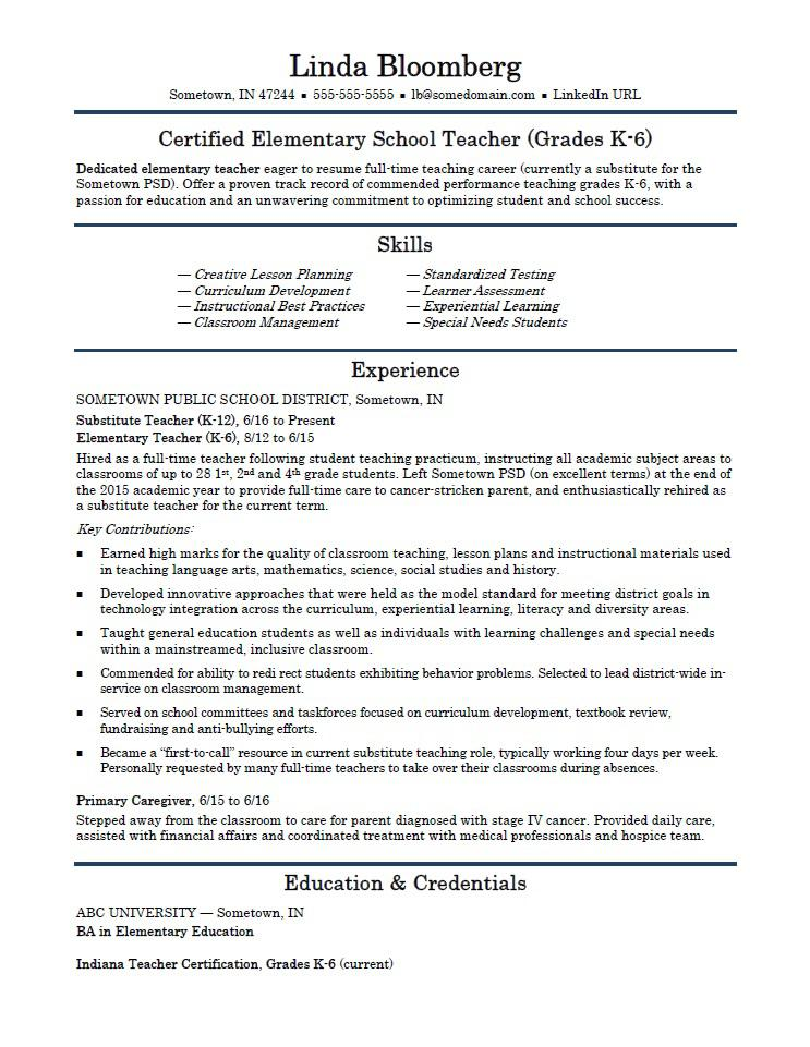 elementary school teacher resume template monster templates sap fico consultant years Resume Elementary Resume Templates
