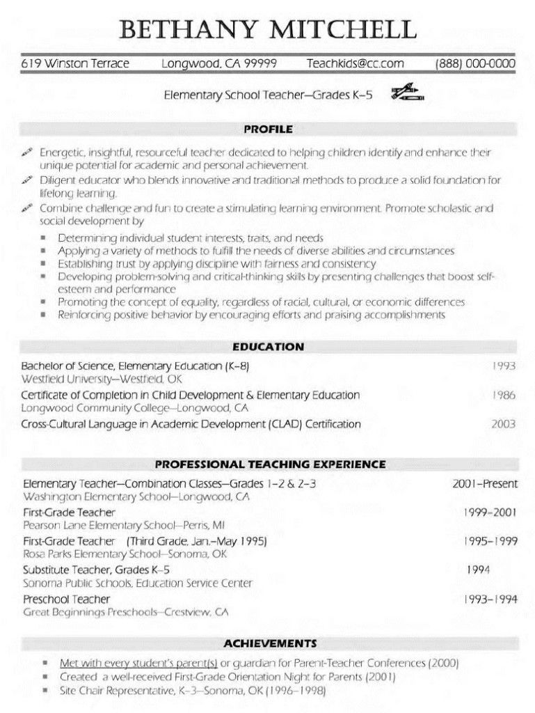 elementary teacher resume examples free templates template teaching sap fico consultant Resume Elementary Resume Templates