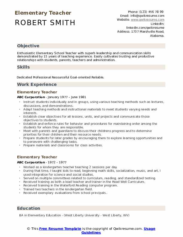 elementary teacher resume samples qwikresume templates pdf best ever format with Resume Elementary Resume Templates