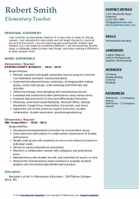 elementary teacher resume samples qwikresume templates pdf data engineer best ever with Resume Elementary Resume Templates