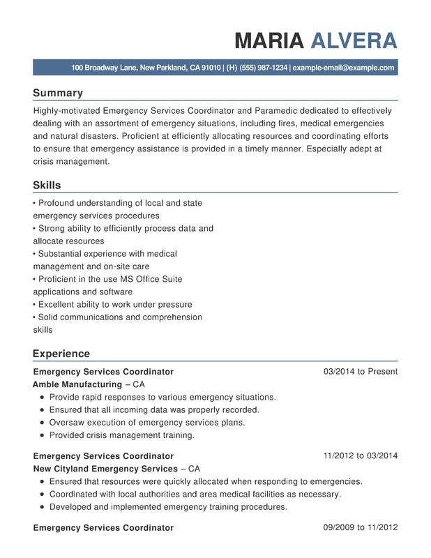 emergency services functional resume samples examples format templates help management Resume Emergency Management Resume