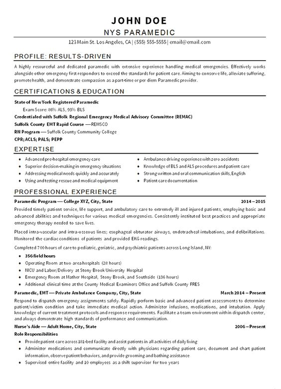 emt paramedic firefighter resume job examples free templates writing nail technician for Resume Free Emt Resume Templates