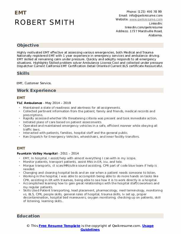 emt resume samples qwikresume free templates pdf experience professional examples copy Resume Free Emt Resume Templates