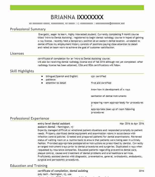 entry level dental assistant resume example falbo monday assoc cincinnati examples with Resume Dental Assistant Resume Examples With No Experience