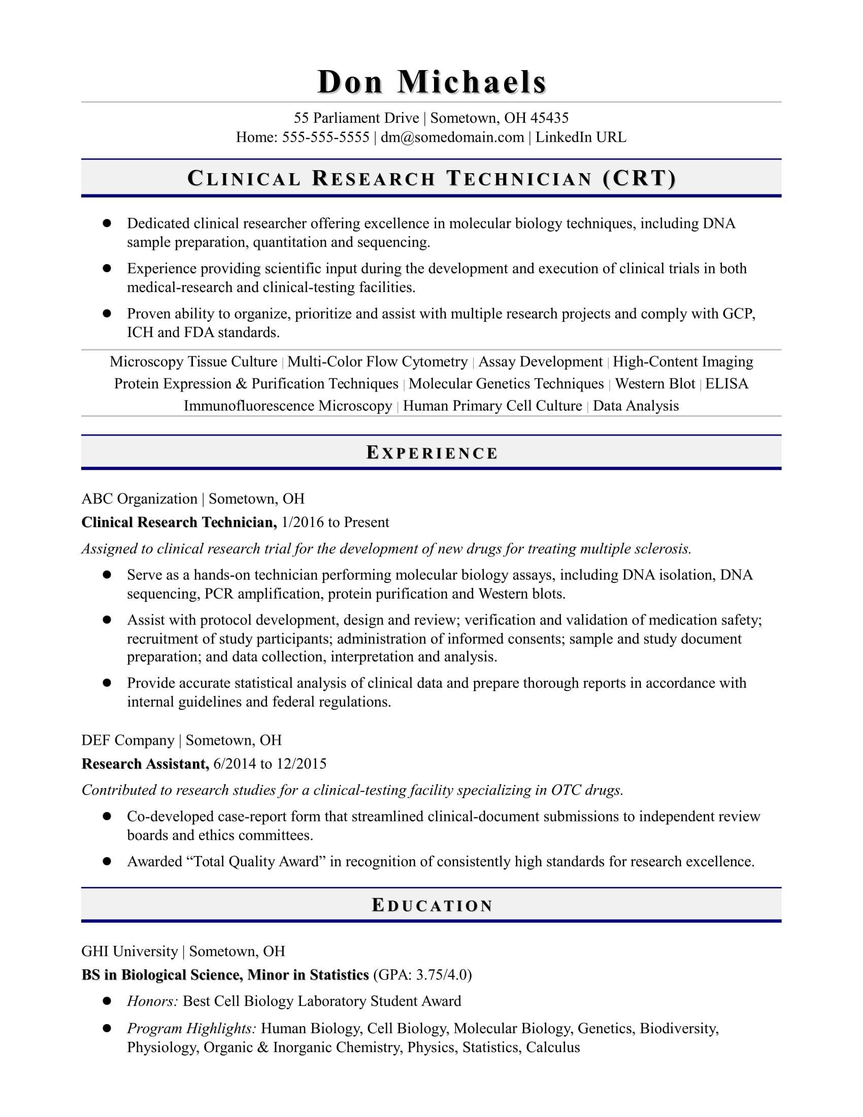 entry level research technician resume sample monster clinical format for computer Resume Clinical Research Resume
