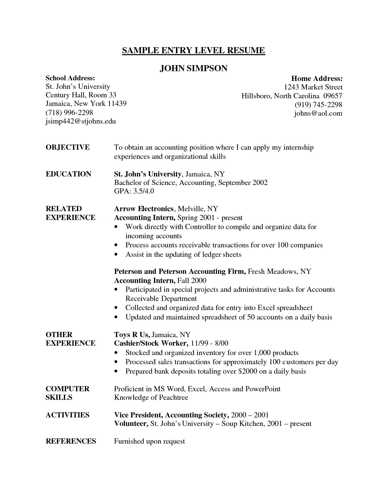 entry level resume example job examples marketing profile stanford sample objective for Resume Entry Level Resume Profile Examples