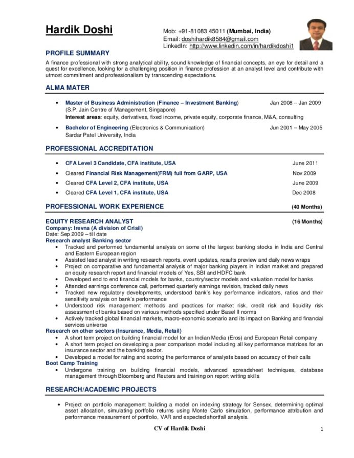 equity analyst resume research cv example hardikdoshicv phpapp01 thumbnail cctv operator Resume Cfa Candidate On Resume