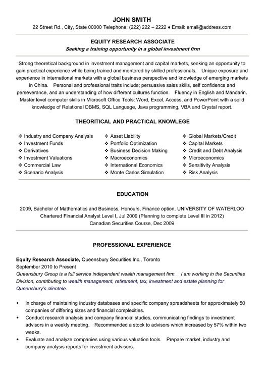 equity research associate resume sample template assistant student product manager Resume Resume Template Research Assistant