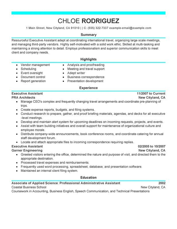 executive assistant resume sample my perfect administrative examples objective template Resume Executive Assistant Resume Template