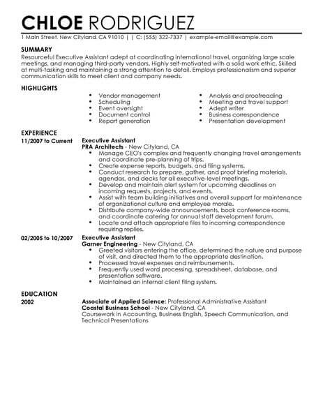 executive assistant resume template for microsoft word livecareer best format Resume Best Resume Format For Executive Assistant