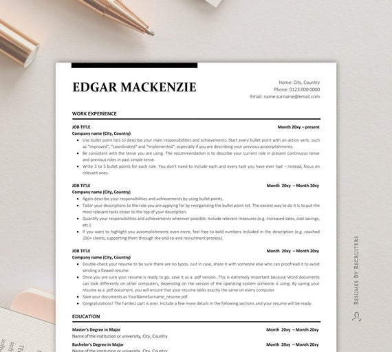 executive resume ats friendly instant etsy template free il 570xn writing with little Resume Ats Friendly Resume Template Free 2020