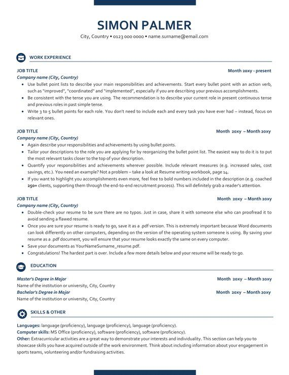 executive resume template ats friendly with icons etsy in templates free action words for Resume Ats Friendly Resume Template Free 2020