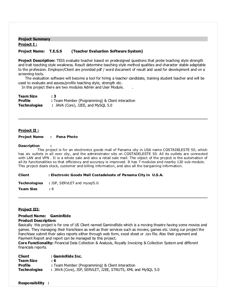 experienced developer resume sample projects for devloper templates candidates free Resume Java Projects For Resume