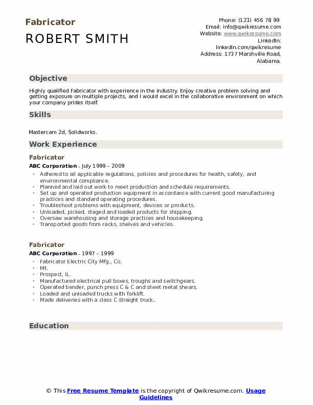 fabricator resume samples qwikresume welder pdf modern fonts college application tips Resume Welder Fabricator Resume
