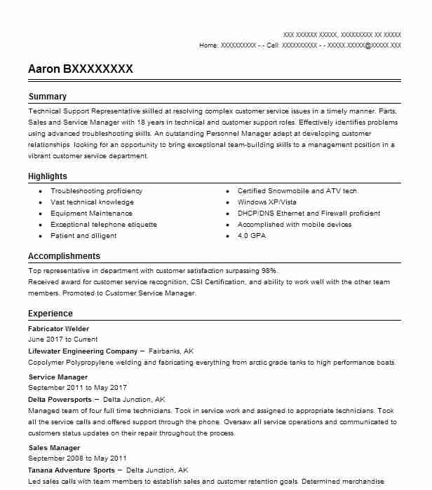fabricator welder resume example resumes livecareer examples for warehouse worker job Resume Welder Fabricator Resume