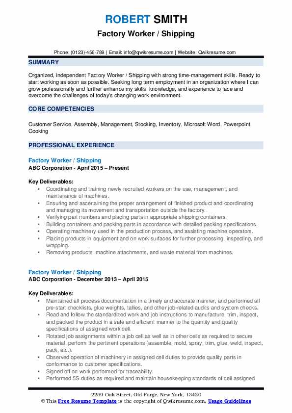factory worker resume samples qwikresume for job pdf completely free builder seek tips Resume Resume For Factory Job