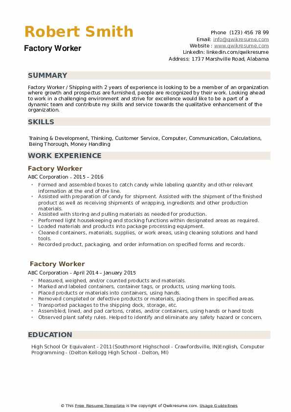 factory worker resume samples qwikresume for job pdf computer support specialist examples Resume Resume For Factory Job