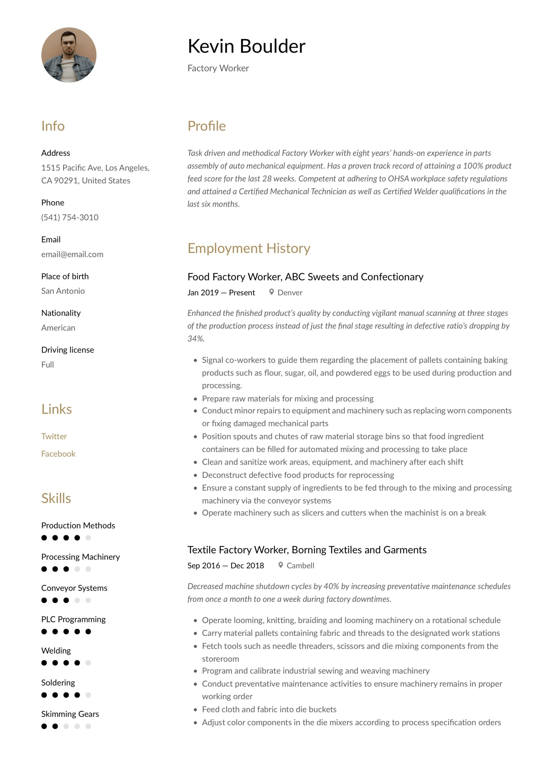 factory worker resume writing guide examples for job academic template highschool Resume Resume For Factory Job